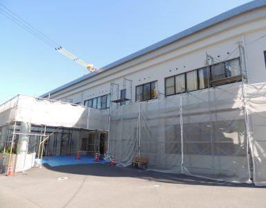 外壁補修工事がもうすぐ終わります。